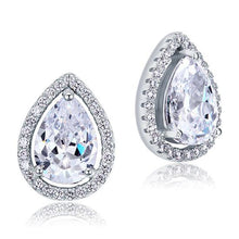 Load image into Gallery viewer, 4 Carat Pear Cut CZ Stud 925 Sterling Silver Earrings Jewelry XFE8079