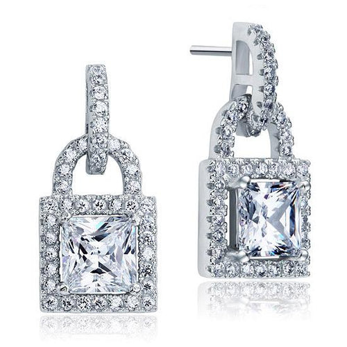 Created Diamond Dangle Drop Key Lock Sterling 925 Silver Earrings XFE8080