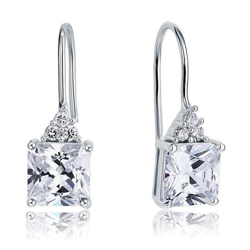 2 Carat Princess Cut Created Diamond Dangle Drop 925 Sterling Silver Earrings XFE8092