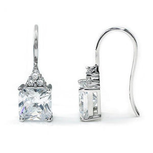 Rebel. 2 Carat Princess Cut Created Diamond Dangle Drop 925 Sterling Silver Earrings XFE8092