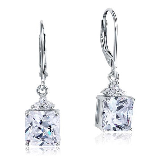 2 Carat Princess Cut Created Diamond Dangle Drop 925 Sterling Silver Earrings XFE8094