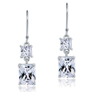 Rebel. 8 Carat Princess Cut Created Diamond Dangle Drop 925 Sterling Silver Earrings XFE8095