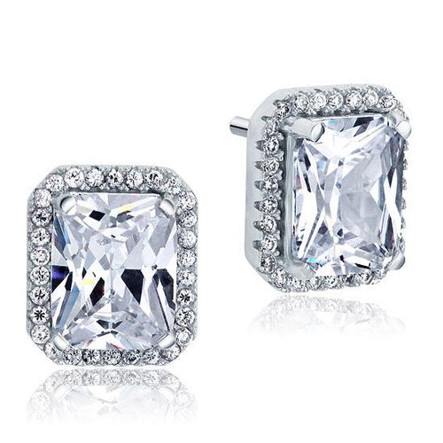 4 Carat Created Diamond Stud 925 Sterling Silver Earrings XFE8097