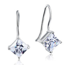 Load image into Gallery viewer, 1.5 Carat Princess Cut Created Diamond Dangle Drop 925 Sterling Silver Earrings XFE8100