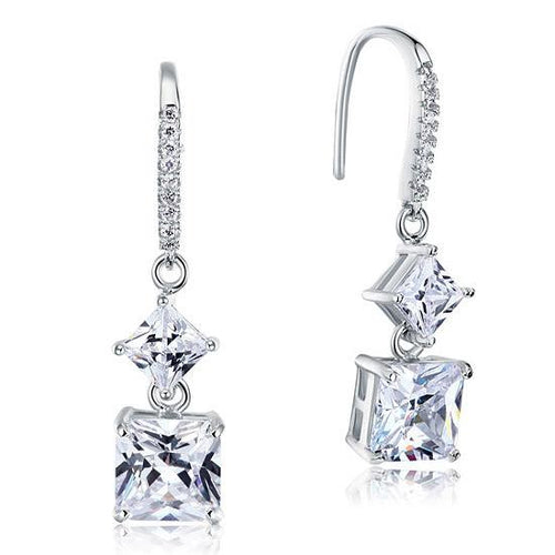 2 Carat Princess Cut Created Diamond Dangle Drop 925 Sterling Silver Earrings XFE8101