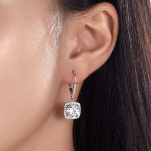 Rebel. 925 Sterling Silver Bridal Wedding Earrings Brilliant Created Diamond XFE8122