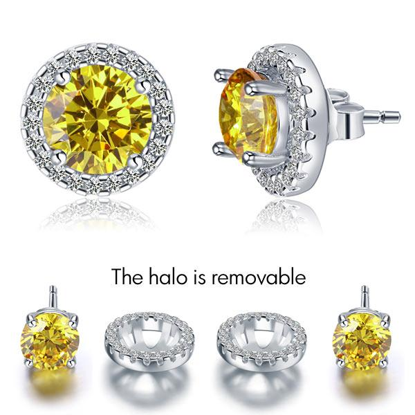Rebel. 2.5 Carat Round Fancy Yellow Halo (Removable) Stud 925 Sterling Silver Earrings XFE8127