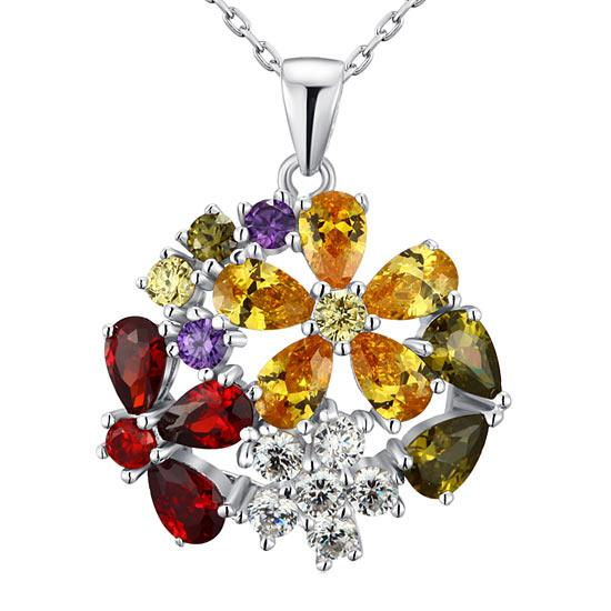 Rebel. 3.5 Carat Multi-Color Created Topaz Flower 925 Sterling Silver Pendant Necklace XFN8015