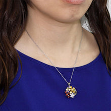 Load image into Gallery viewer, 3.5 Carat Multi-Color Created Topaz Flower 925 Sterling Silver Pendant Necklace XFN8015