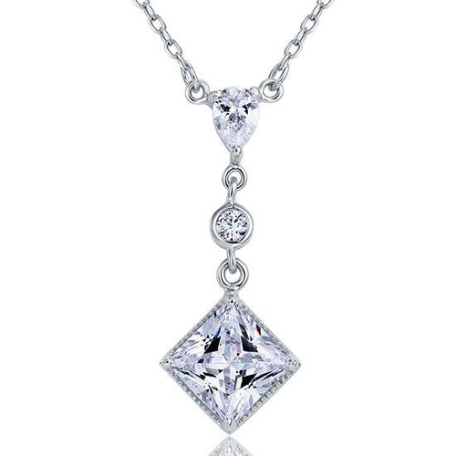 2 Carat Princess Cut Created Diamond Dangle 925 Sterling Silver Pendant Necklace XFN8031