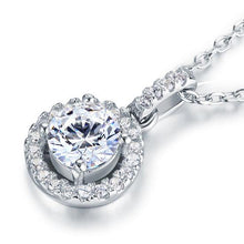 Load image into Gallery viewer, Rebel. 1 Carat Round Cut Created Diamond Bridal 925 Sterling Silver Pendant Necklace XFN8037