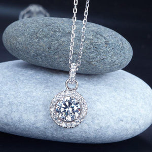 Rebel. 1 Carat Round Cut Created Diamond Bridal 925 Sterling Silver Pendant Necklace XFN8037