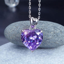 Load image into Gallery viewer, 925 Sterling Silver Heart Pendant Necklace 5 Carat Purple Bridal Jewelry XFN8045