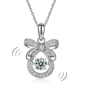 Ribbon Dancing Stone Pendant Necklace 925 Sterling Silver Good for Wedding Bridesmaid Gift XFN8073