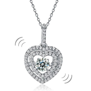 Heart Dancing Stone Pendant Necklace 925 Sterling Silver Good for Wedding Bridesmaid Gift XFN8074