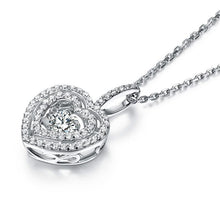 Load image into Gallery viewer, Heart Dancing Stone Pendant Necklace 925 Sterling Silver Good for Wedding Bridesmaid Gift XFN8074