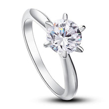 Load image into Gallery viewer, 6 Claws Created Diamond Engagement Ring 925 Sterling Silver Classic XFR8002
