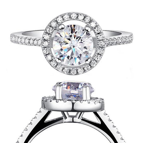 1.25 Carat Round Cut Created Diamond 925 Sterling Silver Wedding Engagement Ring XFR8003