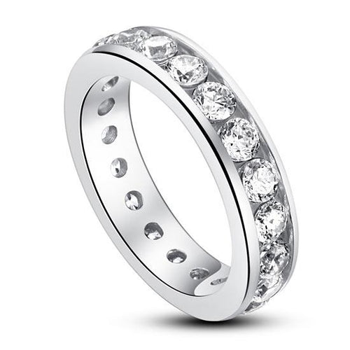 Channel Setting Created Diamond 925 Sterling Silver Eternity Band Wedding Anniversary Ring XFR8004