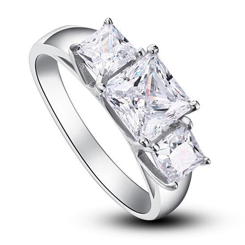 1.5 Carat 3-Stones Created Diamond 925 Sterling Silver Wedding Anniversary Ring XFR8008