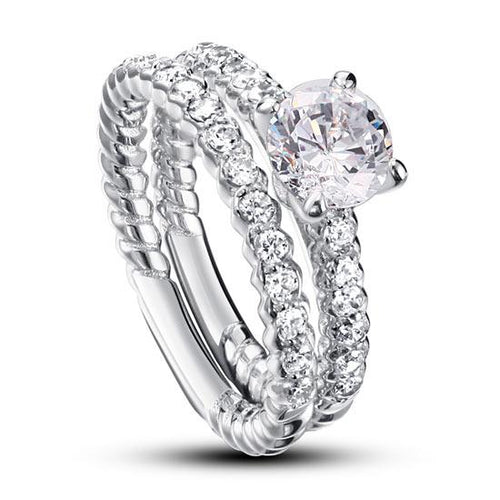 Created Diamond 925 Sterling Silver 2-Pcs Wedding Engagement Ring Set XFR8010