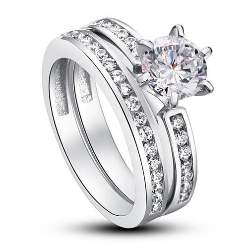 1 Carat Round Cut Created Diamond 925 Sterling Silver 2-Pc Wedding Engagement Ring Set XFR8014