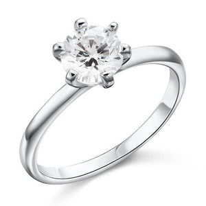 1 Carat Created Diamond Engagement Sterling 925 Silver Ring XFR8027