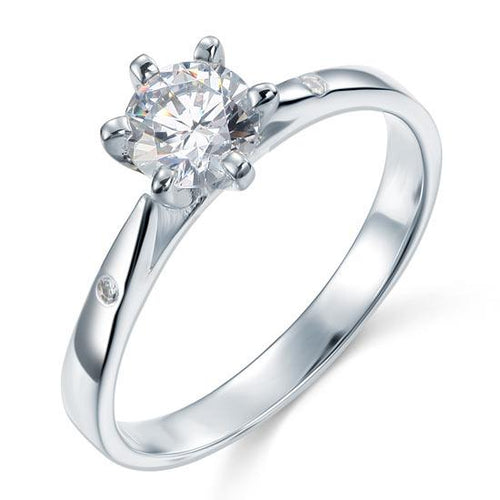 Sterling 925 Silver Created Diamond Wedding Engagement Ring XFR8032