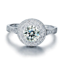 Load image into Gallery viewer, 1 Carat Round Cut Created Diamond Wedding Engagement Sterling 925 Silver Ring XFR8035