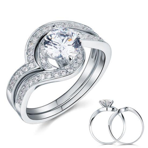 1.25 Carat Created Diamond Bridal Engagement 2-Pcs Sterling 925 Silver Ring Set XFR8036