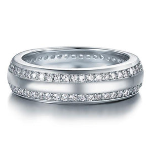 Created Diamond Solid Sterling 925 Silver Wedding Band Ring XFR8040