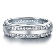 Load image into Gallery viewer, Rebel. Created Diamond Solid Sterling 925 Silver Wedding Band Ring XFR8040