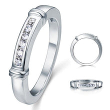 Load image into Gallery viewer, Channel Set Created Diamond Solid Sterling 925 Silver Wedding Ring XFR8044