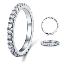 Load image into Gallery viewer, Micro Set Eternity Created Diamond Solid Sterling 925 Silver Wedding Ring XFR8045
