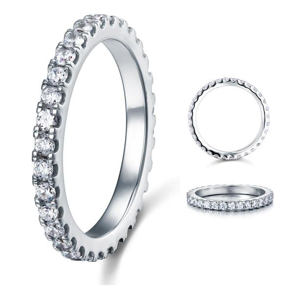 Micro Set Eternity Created Diamond Solid Sterling 925 Silver Wedding Ring XFR8045