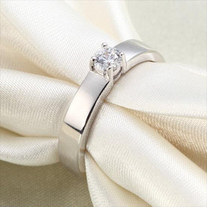 Classic Created Diamond Solid Sterling 925 Silver Wedding Ring XFR8047