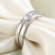 Load image into Gallery viewer, Rebel. Heart Created Diamond 2-Pc Solid Sterling 925 Silver Wedding Ring Set XFR8048