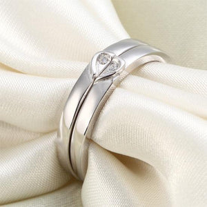 Rebel. Heart Created Diamond 2-Pc Solid Sterling 925 Silver Wedding Ring Set XFR8048