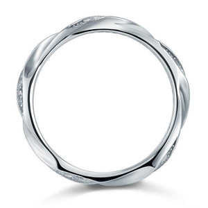 Created Diamond Solid Sterling 925 Silver Twist Ring XFR8064