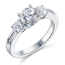 Load image into Gallery viewer, 3 Stone Created Diamond Solid Sterling 925 Silver Ring XFR8065