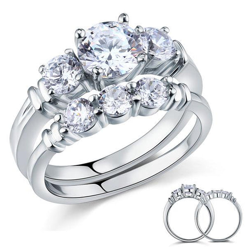 Created Diamond 2-Pc Solid Sterling 925 Silver Ring Set XFR8066
