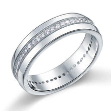 Load image into Gallery viewer, Rebel. Men's Wedding Band Solid Sterling 925 Silver Created Diamond Ring XFR8068