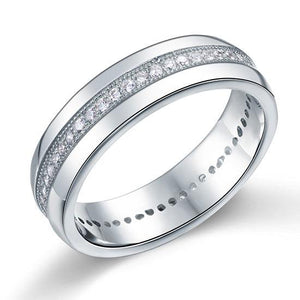 Rebel. Men's Wedding Band Solid Sterling 925 Silver Created Diamond Ring XFR8068
