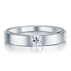 Rebel. Princess Cut Created Diamond Solid Sterling 925 Silver Ring XFR8074