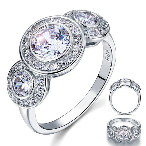 Art Deco 2.5 Carat Created Diamond Solid 925 Sterling Silver Wedding Engagement Ring XFR8089