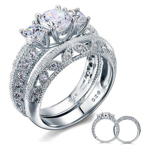 Vintage Style Victorian Art Deco 1.5 Carat CZ Created Diamond Solid Sterling 925 Silver 2-Pcs Wedding Engagement Ring Set XFR8100