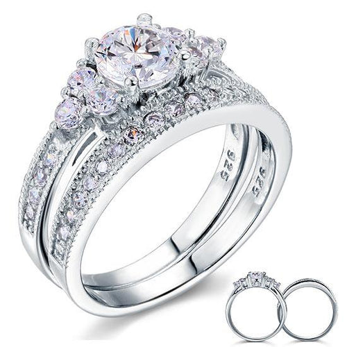 Vintage Style 1 Carat Created Diamond Solid Sterling 925 Silver 2-Pc Wedding Engagement Ring Set XFR8102