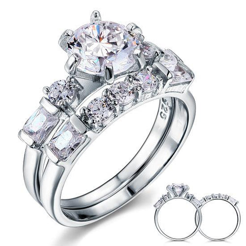 Vintage Style 2 Carat Created Diamond Solid Sterling 925 Silver 2-Pc Wedding Engagement Ring Set XFR8105