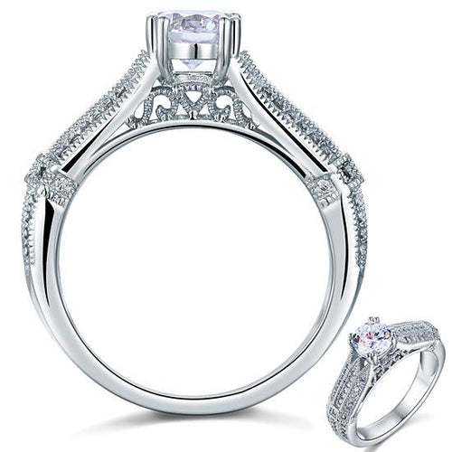 Vintage Style 1 Carat Created Diamond Solid 925 Sterling Silver Bridal Wedding Engagement Ring Jewelry XFR8109