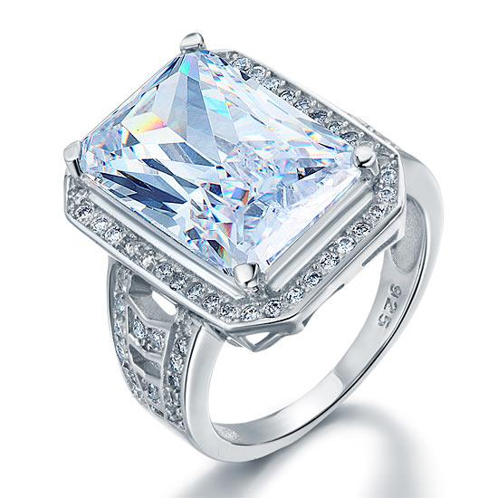 Rebel. Radiant Cut Created Diamond 925 Sterling Silver Ring XFR8116